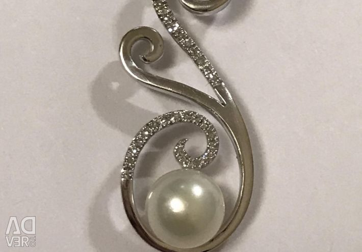 White gold pendant with pearls and diamonds