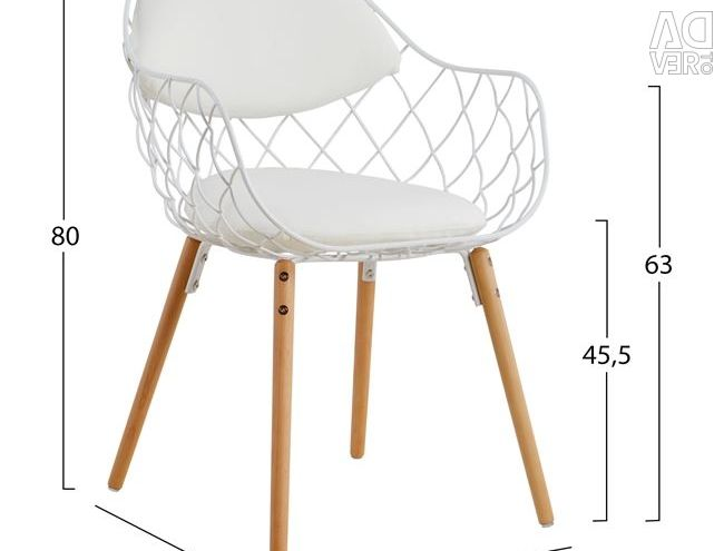 MELIA HM8047.02 ARMCHAIR WITH WHITE PU WOODEN