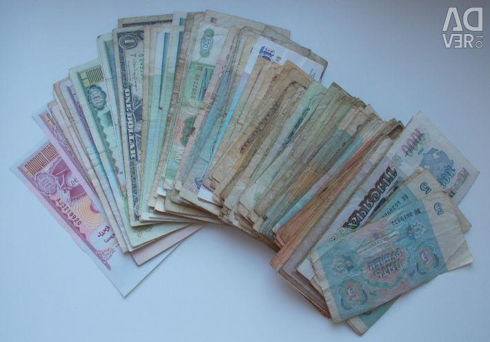 Banknotes of different countries. Used, miscellaneous condition