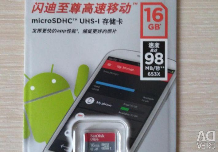 New MicroSD 16GB Memory Card