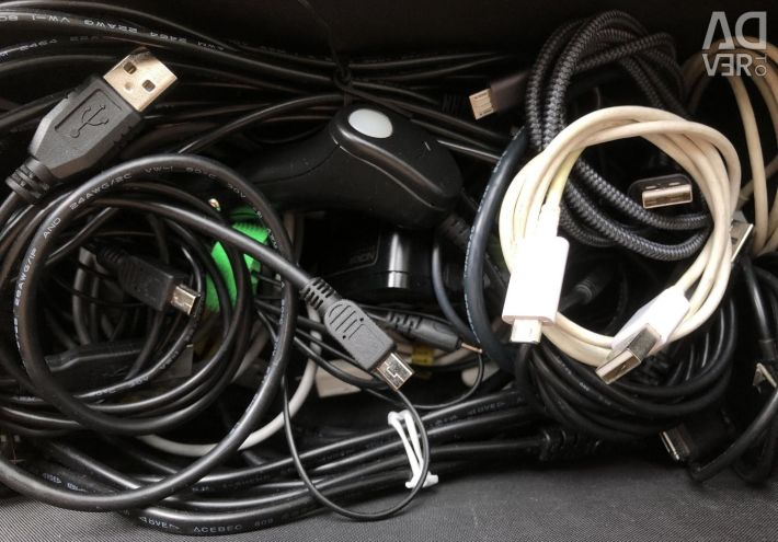 Micro and Mini USB cables, extension cords (many different)