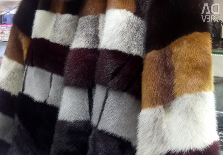 Mink γούνινο παλτό ριγέ