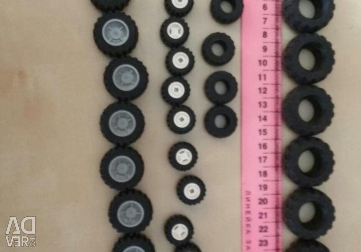 Колеса, шини та інші деталі реального лего