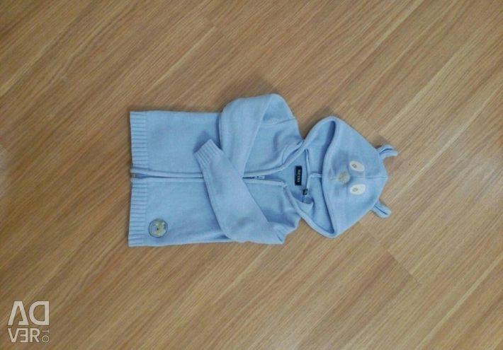 Cotton children's sweater bear 80 blue seven