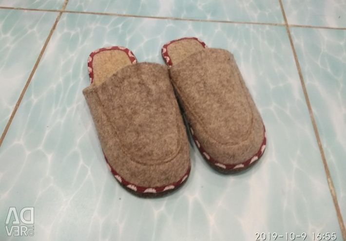 Felt slippers and homemade chuni