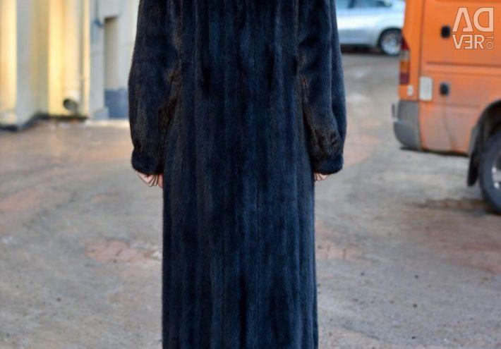 Vizon kürk ceket uzun