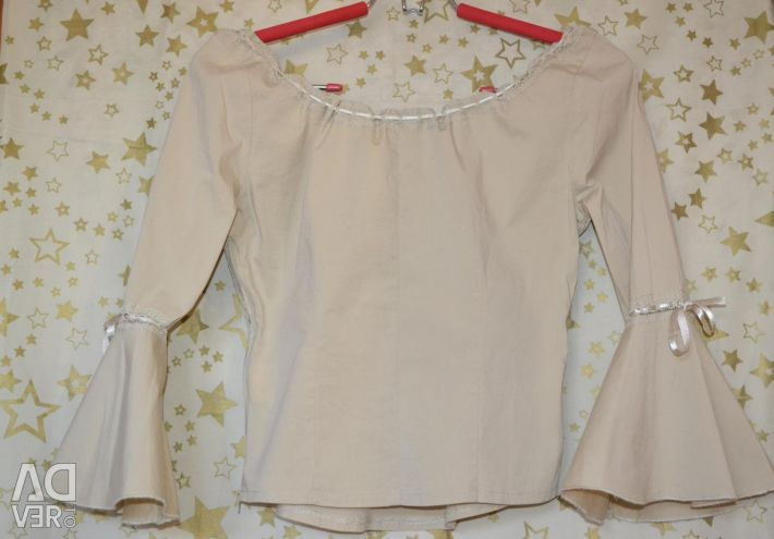 Blouse with satin ribbons S-M