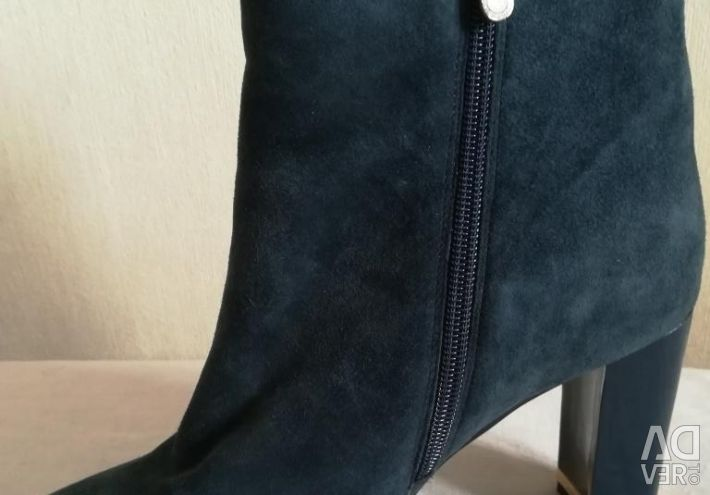 Ankle boots blue, natural suede, r-39