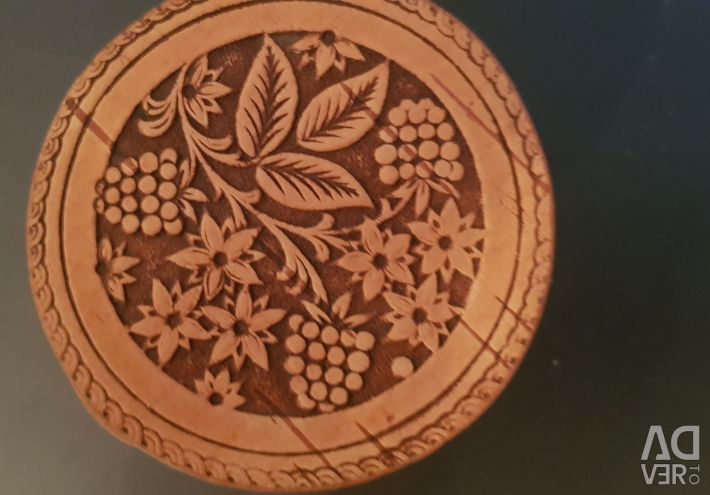 Birch bark box. Wooden painted