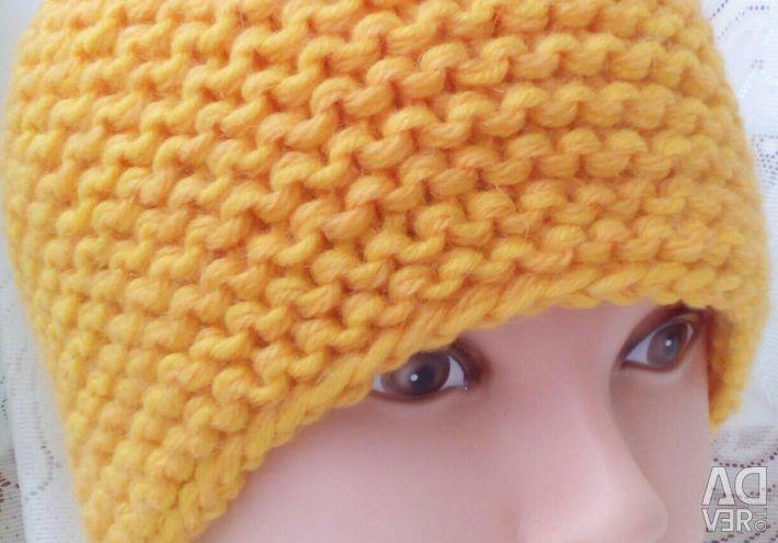 A yellow cap. Handmade