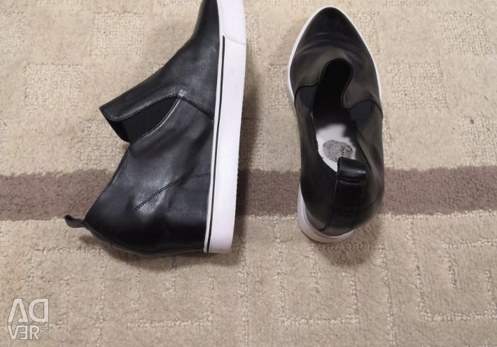 Wedge shoes leather