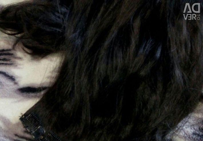 Hair on hairpins, dark chestnut