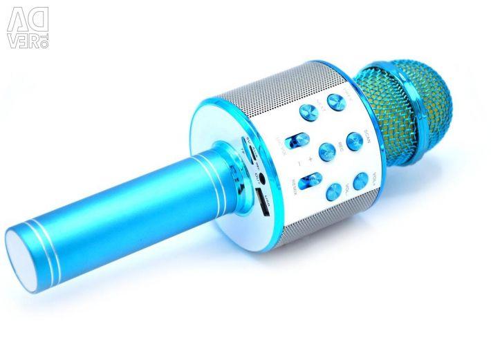 Караоке мікрофон з колонкою WS-858 (blue)
