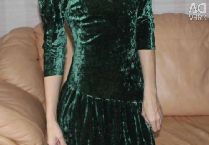 Dress green velvet Italian brand