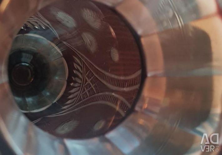 Vase manganese glass diamond facet USSR