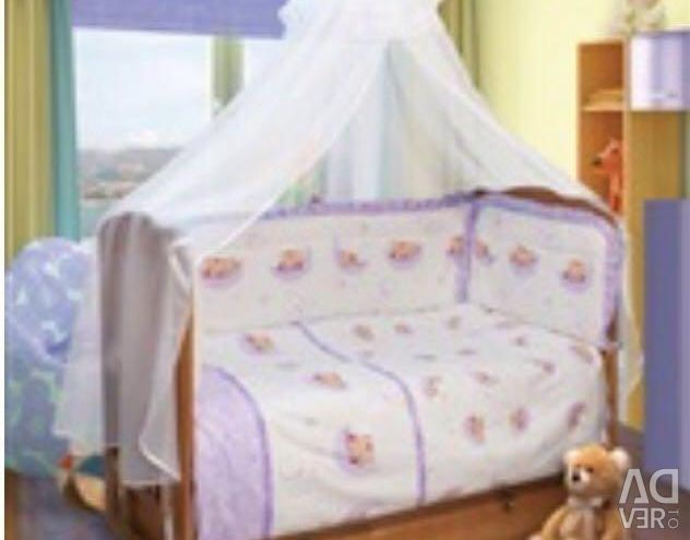 Bed linen with canopy.