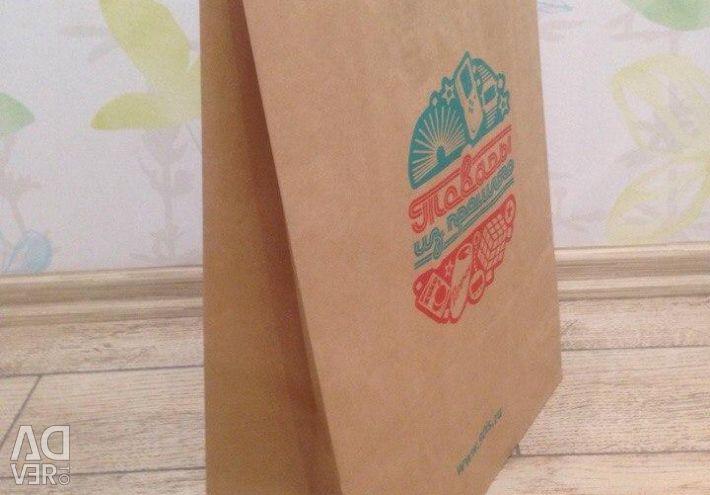 Бумажные пакеты крафт с ярким принтом 110 шт