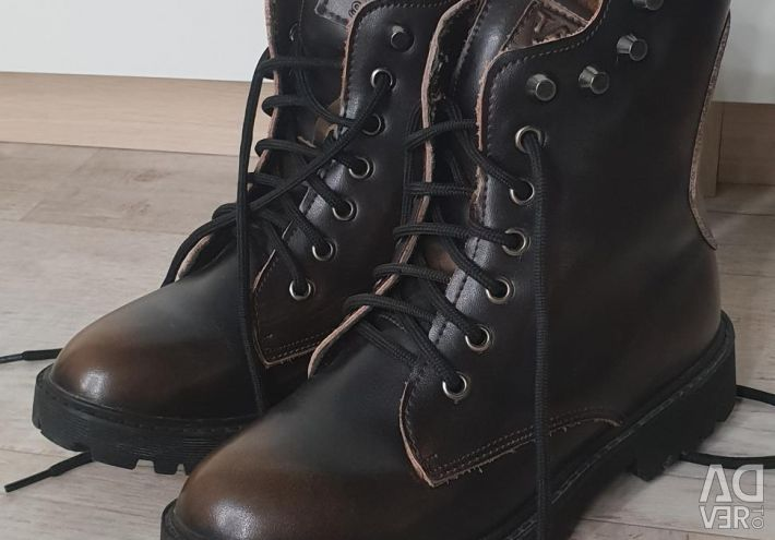 Leather boots warmed