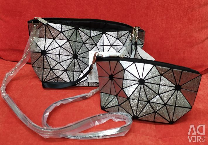 Set: Silver clutch bag and cosmetic bag Prisma