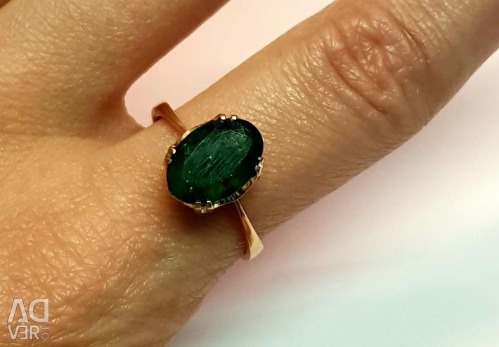 Ring with Emerald. 585 gold sample