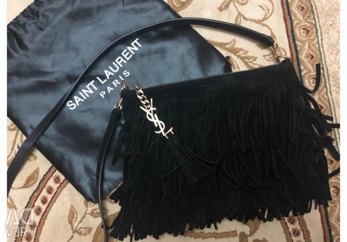 Τσάντα SAINT LAURENT (φυσικό σουέτ) σε σουίτα.
