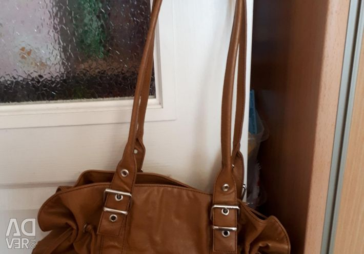 Leather handbag for women, natural, price reduced