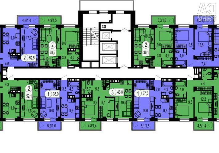 Daire, 1 oda, 37,5 m²