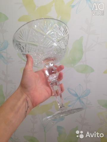 Хрустальная ваза для фруктов на высокой ножке СССР