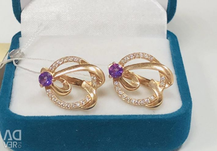 Gold earrings with cubic zirconias 4.77 gr