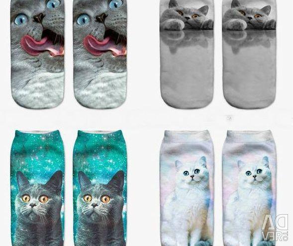 3D șosete-pisici. Dimensiune universală