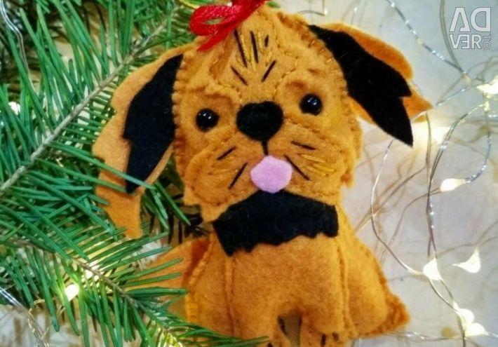 Christmas toys made of felt, york dogs and shih tzu