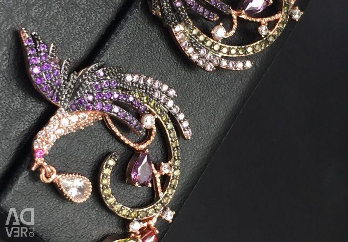 Σκουλαρίκια με τη μορφή κολιμπρί με στρας