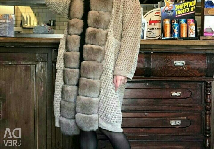 Cardigan with fur Finnish fox