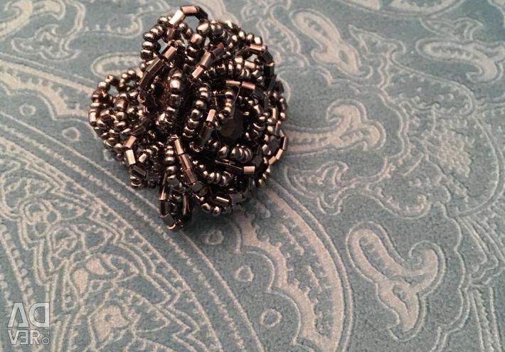 Inel de margele argintiu-negru
