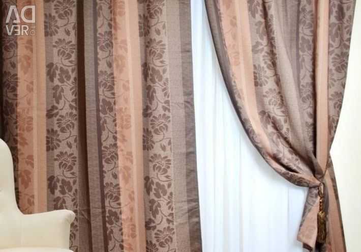 A set of curtains (blackout) Brown lightproof