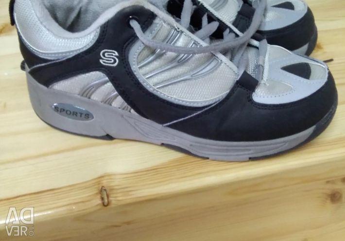 Sneakers on wheels. Exchange.