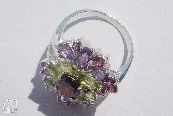 925 ασημένιο δαχτυλίδι με φυσικές πέτρες