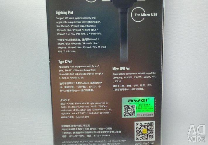 🔥 Awei 3'ü 1 Arada Mikro USB / Yıldırım / C Tipi Kablo