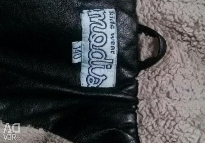 Leather jacket with fur 134-140cm
