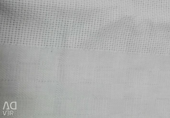 Fabric for tablecloth, with stripe canvas for embroidery