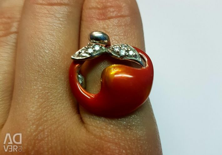 Ring with enamel silver 925