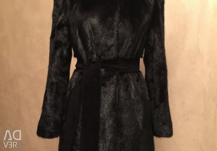 Mink παλτό με κουκούλα 42-46