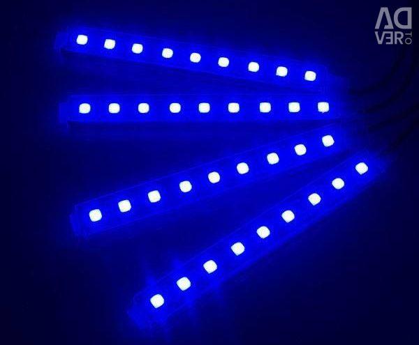 Blue interior lighting and leg zones