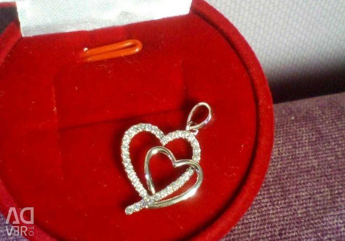New heart pendant, silver