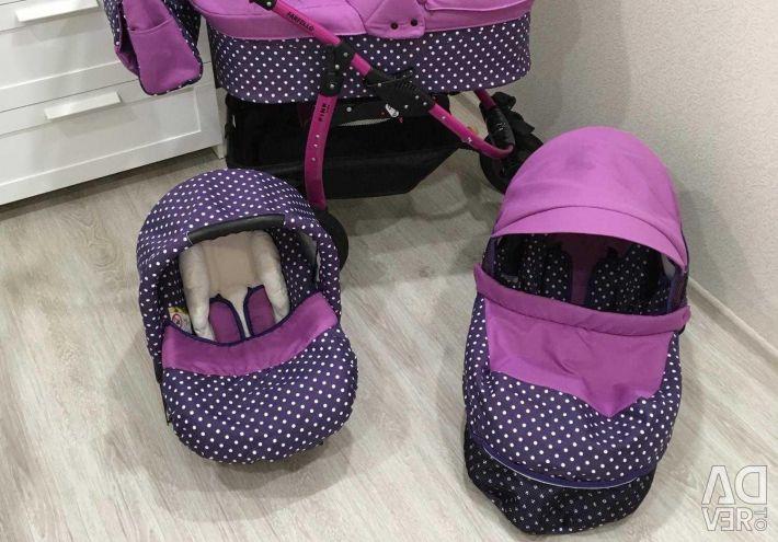 Stroller 3 in 1. Farfello Pink line