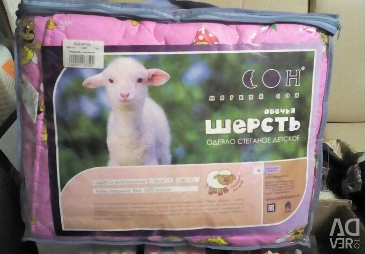 Одеяло овечья шерсть 110*140
