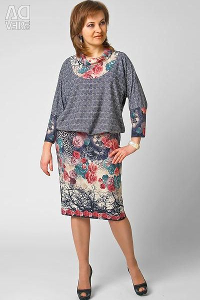 New dress in a gray cell with flowers 56-60 rr