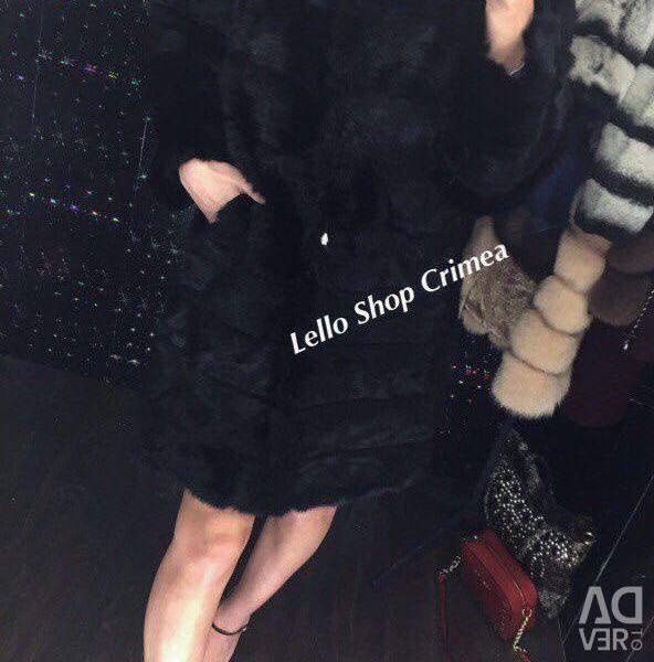 Fur coats of genuine rabbit fur