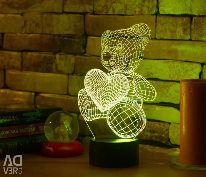 3D lamp Bear with a heart.
