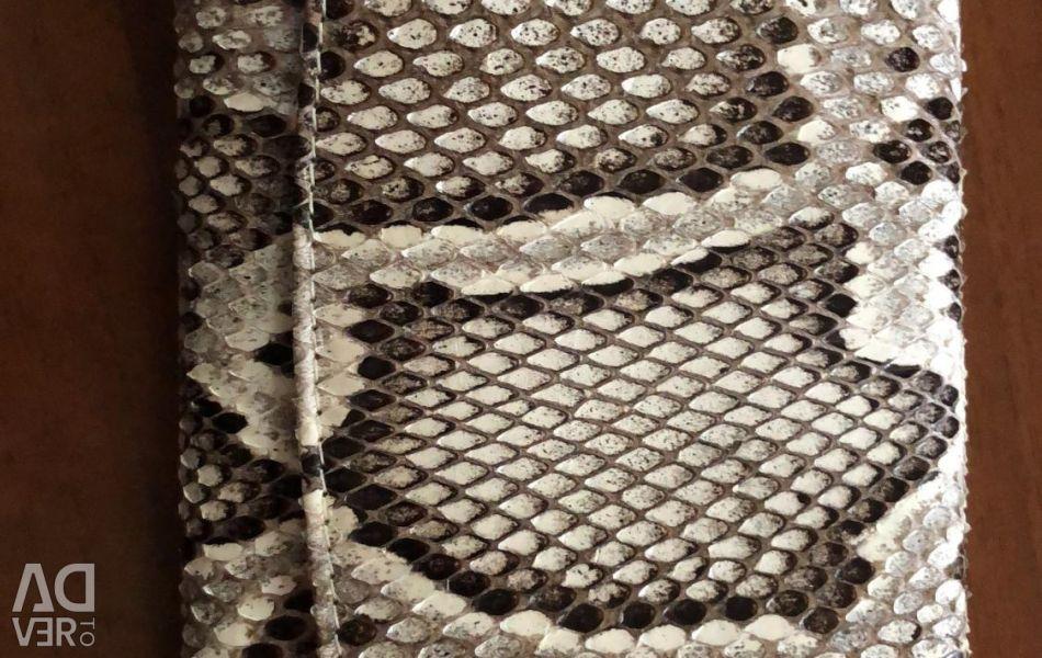 Python leather purse